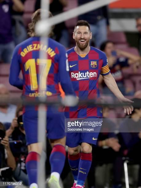 Antoine Griezmann of FC Barcelona, Lionel Messi of FC Barcelona celebrate 1-0 during the La Liga Santander match between FC Barcelona v Villarreal at...