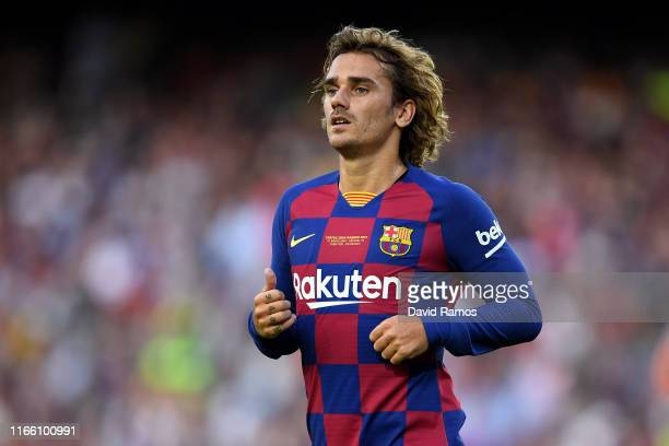 Antoine Griezmann of FC Barcelona looks on during the Joan Gamper trophy friendly match between FC Barcelona and Arsenal at Nou Camp on August 04...