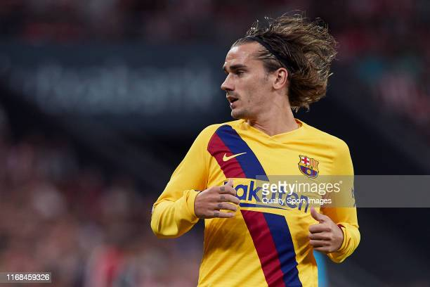 Antoine griezmann of FC Barcelona looks on during the Liga match between Athletic Club and FC Barcelona at San Mames Stadium on August 16 2019 in...