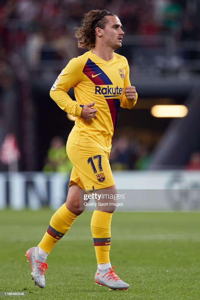 Antoine griezmann of FC Barcelona looks on during the Liga