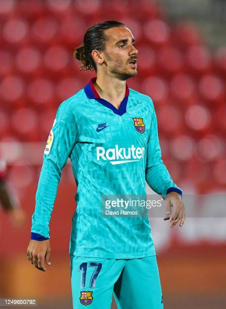 Antoine Griezmann of FC Barcelona looks on during the Liga match between RCD Mallorca and FC Barcelona at Estadio de Son Moix on June 13, 2020 in...