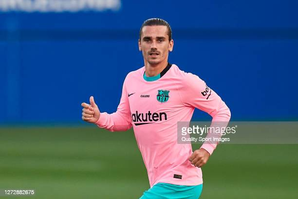 Antoine Griezmann of FC Barcelona looks on during the preseason friendly match between FC Barcelona and Girona at Estadi Johan Cruyff on September 16...
