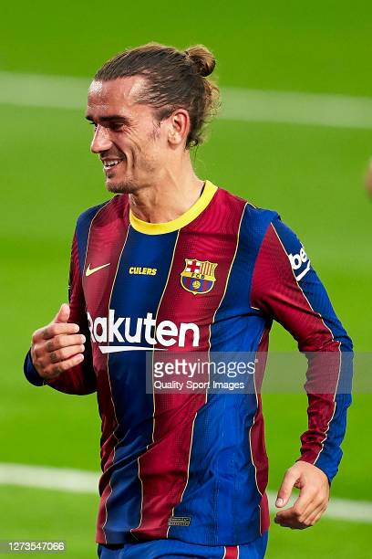 Antoine Griezmann of FC Barcelona reacts during the Joan Gamper Trophy match between FC Barcelona and Elche CF at Camp Nou on September 19 2020 in...