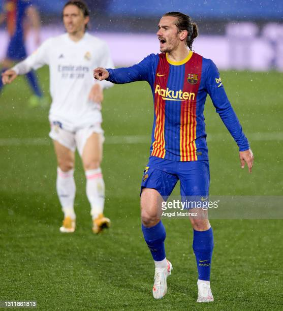 Antoine Griezmann of FC Barcelona reacts during the La Liga Santander match between Real Madrid and FC Barcelona at Estadio Alfredo Di Stefano on...