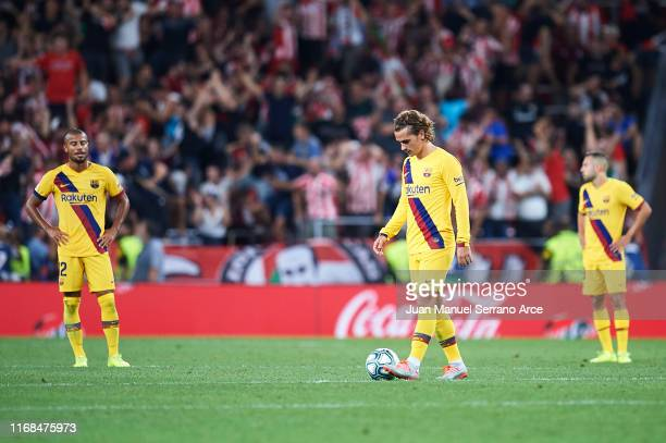 Antoine Griezmann of FC Barcelona reacts during the Liga match between Athletic Club and FC Barcelona at San Mames Stadium on August 16, 2019 in...