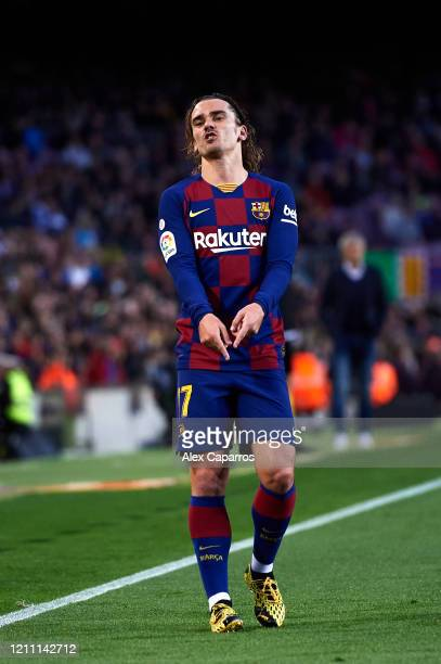 Antoine Griezmann of FC Barcelona reacts during the Liga match between FC Barcelona and Real Sociedad at Camp Nou on March 07 2020 in Barcelona Spain
