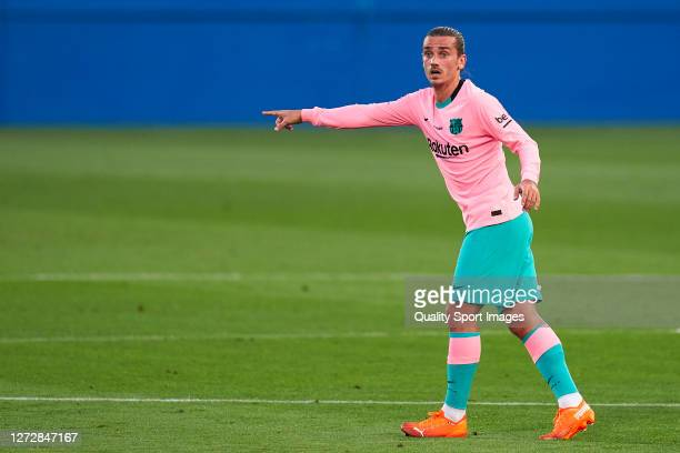 Antoine Griezmann of FC Barcelona reacts during the preseason friendly match between FC Barcelona and Girona at Estadi Johan Cruyff on September 16...