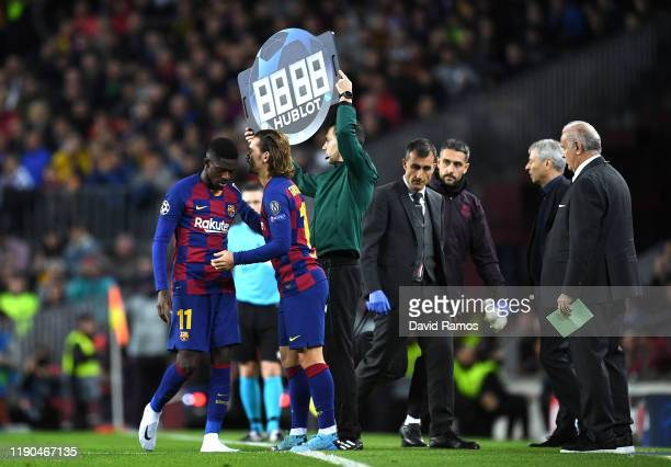 Antoine Griezmann of FC Barcelona replaces injured teammate Ousmane Dembele during the UEFA Champions League group F match between FC Barcelona and...