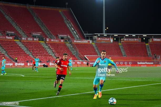Antoine Griezmann of FC Barcelona runs with the ball during the Liga match between RCD Mallorca and FC Barcelona at Estadio de Son Moix on June 13,...