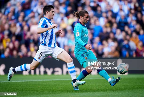 Antoine Griezmann of FC Barcelona scoring goal during the Liga match between Real Sociedad and FC Barcelona at Estadio Anoeta on December 14 2019 in...
