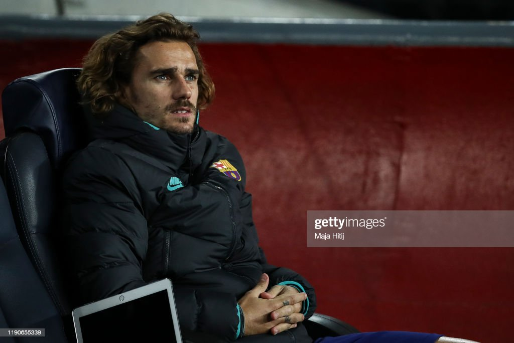 Antoine Griezmann of FC Barcelona sits on the bench prior to the UEFA... News Photo - Getty Images