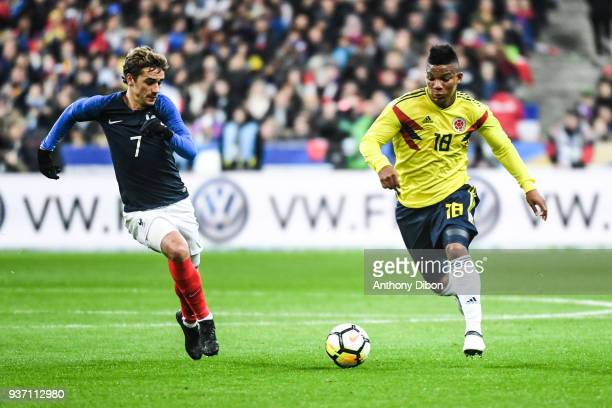 Antoine Griezmann of France and Frank Fabra of Colombia during the International friendly match between France and Colombia on March 23 2018 in Paris...