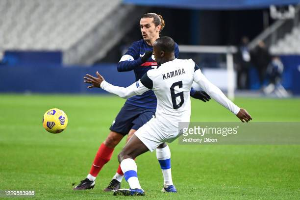 Antoine GRIEZMANN of France and Glen KAMARA of Finland during the international friendly match between France and Finland at Stade de France on...