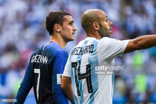Antoine Griezmann of France and Javier Mascherano of Argentina during the FIFA World Cup Round of 16 match between France and Argentina at Kazan...