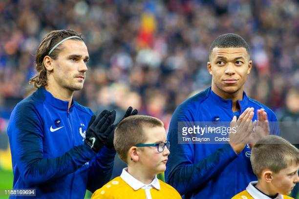 November 14: Antoine Griezmann of France and Kylian Mbappe of France during the singing of the national anthem before the France V Moldova, 2020...