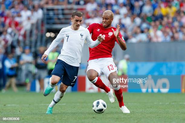 Antoine Griezmann of France and Zanka of Denmark battle for the ball during the 2018 FIFA World Cup Russia group C match between Denmark and France...