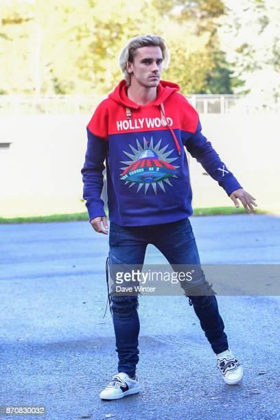 Antoine Griezmann of France arrives at the Centre National du Football in Clairefontaine en Yvelines France on November 6 2017