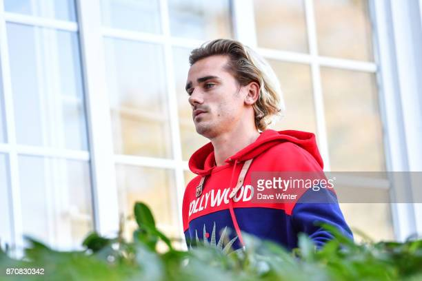 Antoine Griezmann of France arrives at the Centre National du Football in Clairefontaine en Yvelines France on November 6 2017