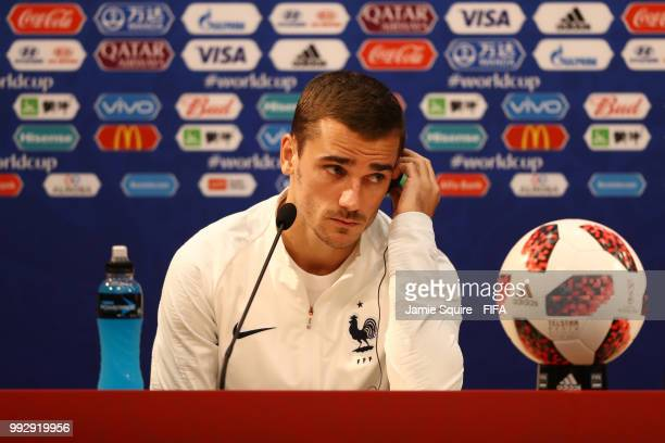 Antoine Griezmann of France attends the post match press conference following the 2018 FIFA World Cup Russia Quarter Final match between Uruguay and...