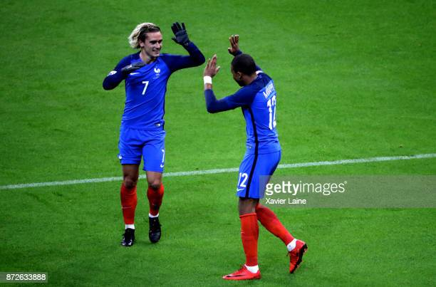 Antoine Griezmann of France celebrate his goal with Kylian Mbappe during the friendly match between France and Wales at Stade de France on November...