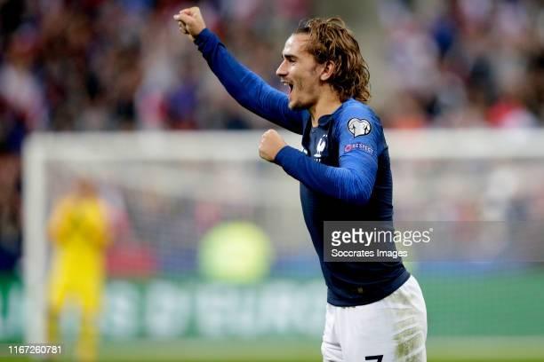 Antoine Griezmann of France celebrates 2-0 during the EURO Qualifier match between France v Andorra at the Stade de France on September 10, 2019 in...