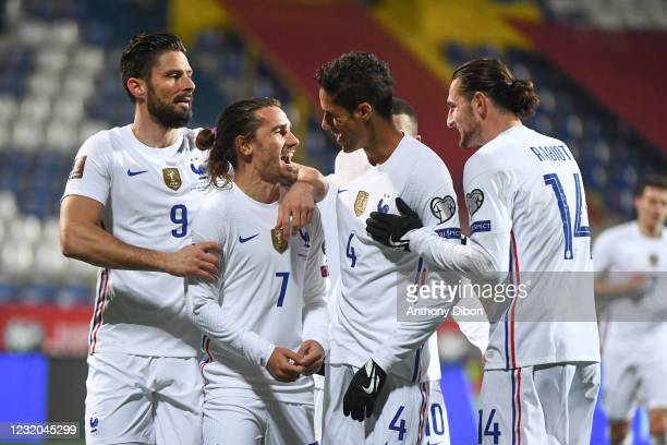 Antoine GRIEZMANN of France celebrates a goal with his team mates during the World Cup Qualifying 2022 match between Bosnia and Herzegovina and...