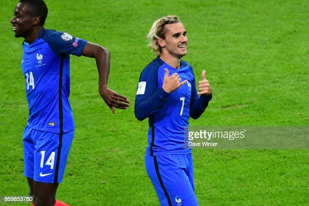 Antoine Griezmann of France celebrates after he puts his side 10 ahead during the Fifa 2018 World Cup qualifying match between France and Belarus on...