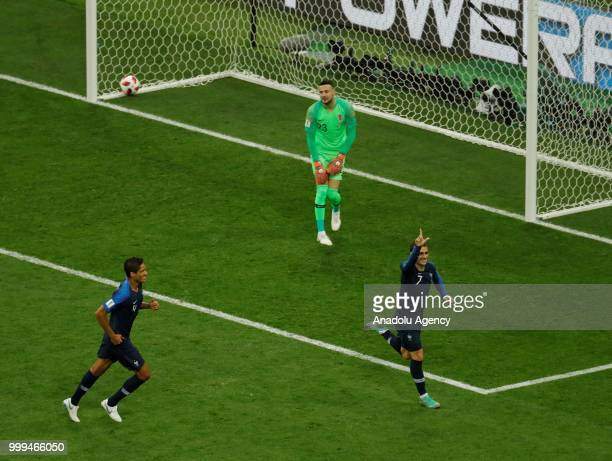 Antoine Griezmann of France celebrates after his penalty goal during the 2018 FIFA World Cup Russia final match between France and Croatia at the...