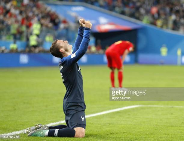 Antoine Griezmann of France celebrates after his side defeated Belgium 10 at a World Cup semifinal in St Petersburg Russia on July 10 2018 ==Kyodo