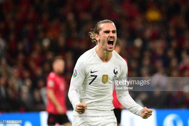 antoine griezmann france celebrates after putting