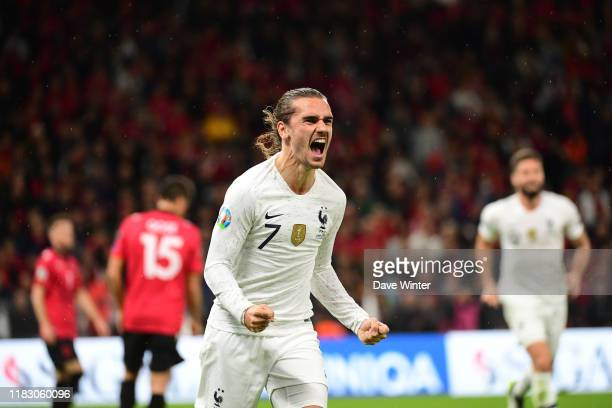 Antoine GRIEZMANN of France celebrates after putting his side 2-0 ahead during the Euro 2020 Group H qualifying match between Albania and France at...