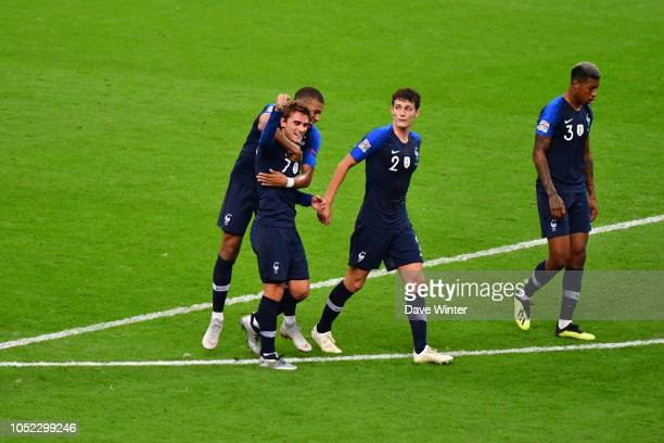 Antoine Griezmann of France celebrates after putting his side 21 ahead during the Nations League match between France and Germany at Stade de France...