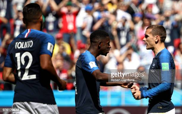 Antoine Griezmann of France celebrates after scoring a penalty for his team's first goal during the 2018 FIFA World Cup Russia group C match between...