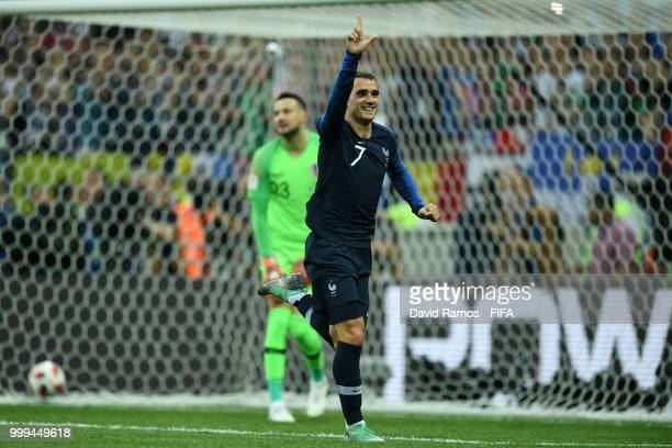 Antoine Griezmann of France celebrates after scoring a penalty for his team's second goal during the 2018 FIFA World Cup Final between France and...