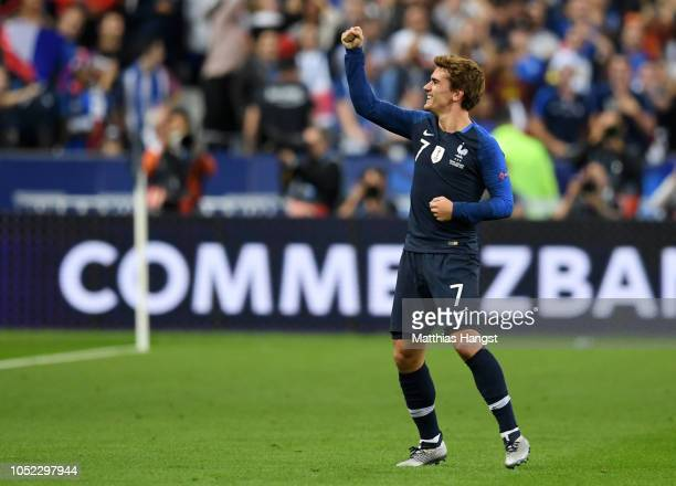 Antoine Griezmann of France celebrates after scoring his team's first goal during the UEFA Nations League A group one match between France and...