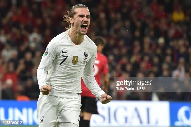 Antoine Griezmann of France celebrates after scoring his team's second goal during the UEFA Euro 2020 Qualifier between Albania and France at Arena...