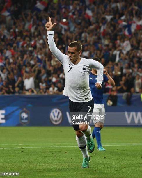 Antoine Griezmann of France celebrates after scoring the second goal during the International Friendly match between France and Italy at Allianz...