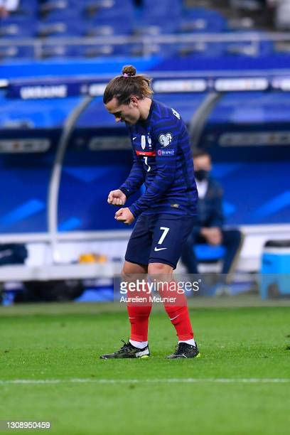 Antoine Griezmann of France celebrates after scoring their side's first goal during the FIFA World Cup 2022 Qatar qualifying match between France and...