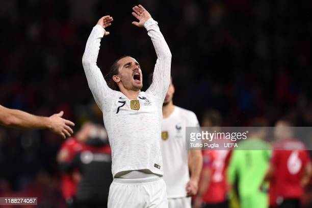 Antoine Griezmann of France celebrates after winning the UEFA Euro 2020 Qualifier between Albania and France at Arena Kombetare on November 17, 2019...