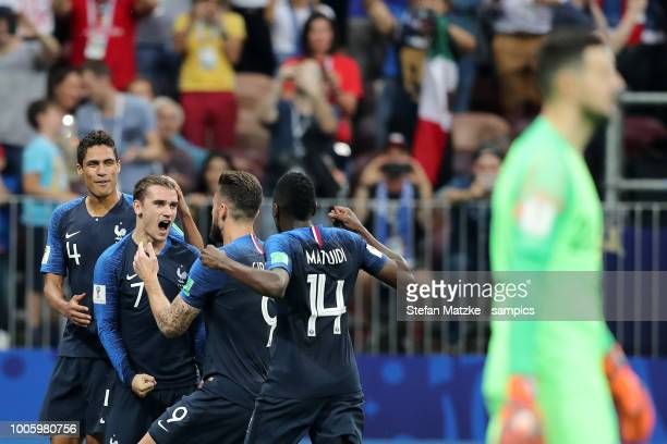 Antoine Griezmann of France celebrates as he scores the goal 21 Olivier Giroud of France Raphael Varane of France Blaise Matuidi of France during the...