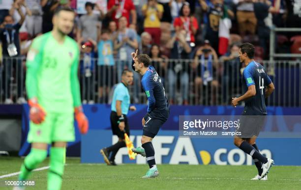 Antoine Griezmann of France celebrates as he scores the goal 21Daniijel Subasic of Croatia Raphael Varane of France during the 2018 FIFA World Cup...