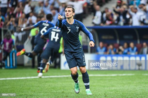 Antoine Griezmann of France celebrates during the World Cup Final match between France and Croatia at Luzhniki Stadium on July 15 2018 in Moscow...