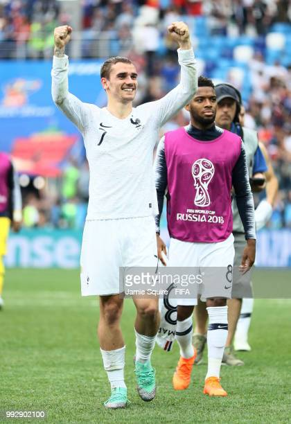 Antoine Griezmann of France celebrates following his sides victory in the 2018 FIFA World Cup Russia Quarter Final match between Uruguay and France...