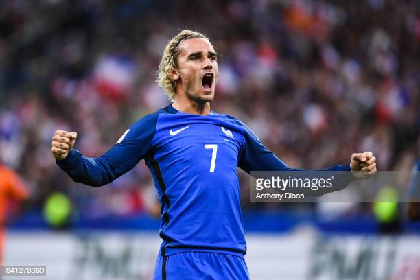Antoine Griezmann of France celebrates his goal during the Fifa 2018 World Cup qualifying match between France and netherlandss at Stade France on...