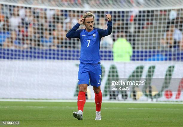 Antoine Griezmann of France celebrates his goal during the FIFA 2018 World Cup Qualifier between France and the Netherlands at Stade de France on...