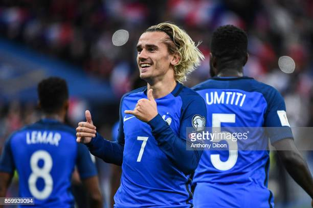Antoine Griezmann of France celebrates his goal during the Fifa 2018 World Cup qualifying match between France and Belarus on October 10 2017 in...