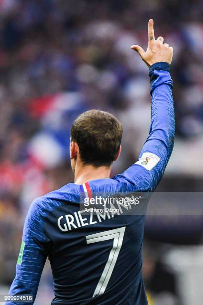 Antoine Griezmann of France celebrates his goal during the World Cup Final match between France and Croatia at Luzhniki Stadium on July 15 2018 in...