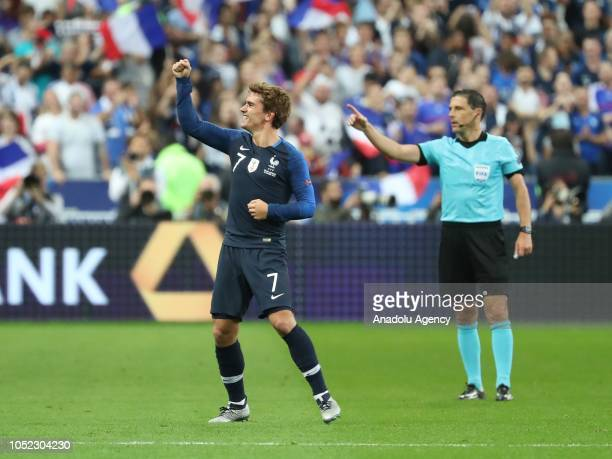 Antoine Griezmann of France celebrates his score during the UEFA Nations League A Group 1 match between France and Germany at Stade de France in...