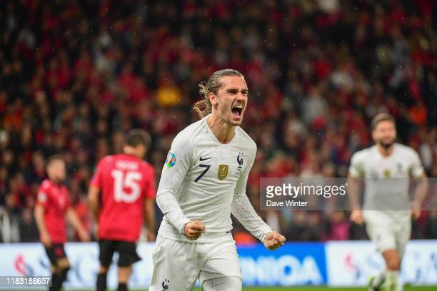 Antoine GRIEZMANN of France celebrates putting his side 2-0 ahead during the Euro 2020 Group H qualifying match between Albania and France at the...