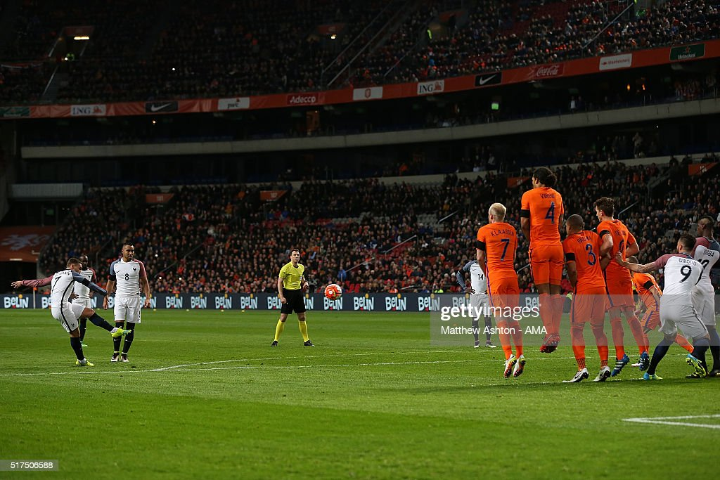 Antoine Griezmann of France celebrates scores the opening goal during the International Friendly match between Netherlands and France at Amsterdam Arena on March 25, 2016 in Amsterdam, Netherlands.